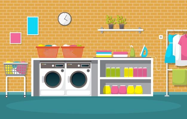 Lave-linge vêtements lave-linge outils de blanchisserie intérieur moderne