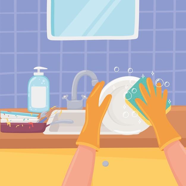 Lave-vaisselle à la main