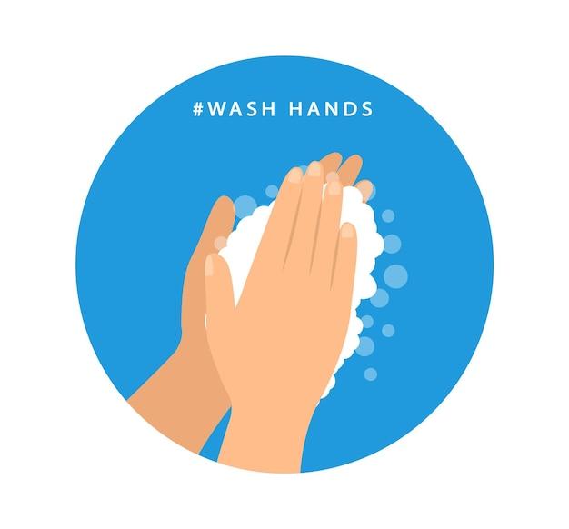 Laver les mains. mesures préventives. icône plate.