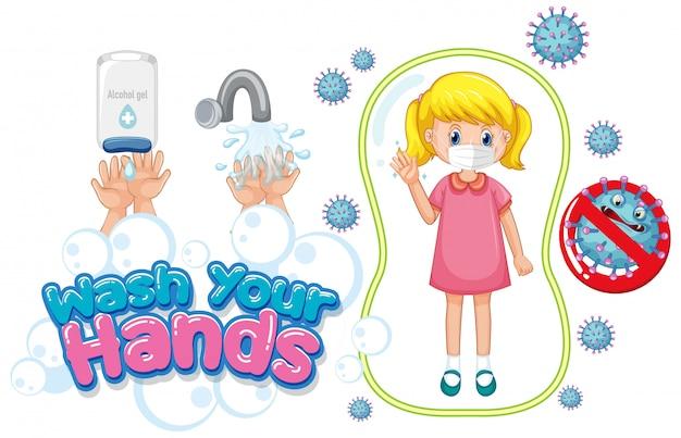 Lavez-vous les mains avec une fille portant un masque