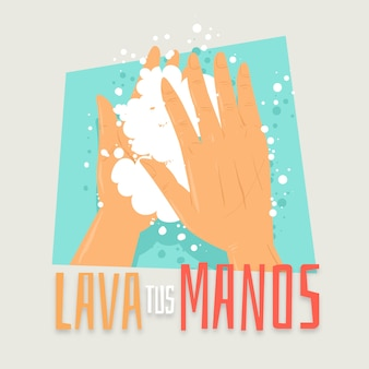Lavez-vous les mains illustration en espagnol