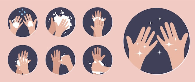 Lavez-vous les mains infographie étapes comment se laver les mains correctement prévention contre les virus et les infections illustration vectorielle