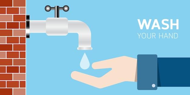 Lavez-vous les mains sous le robinet, étiquette de style plat.