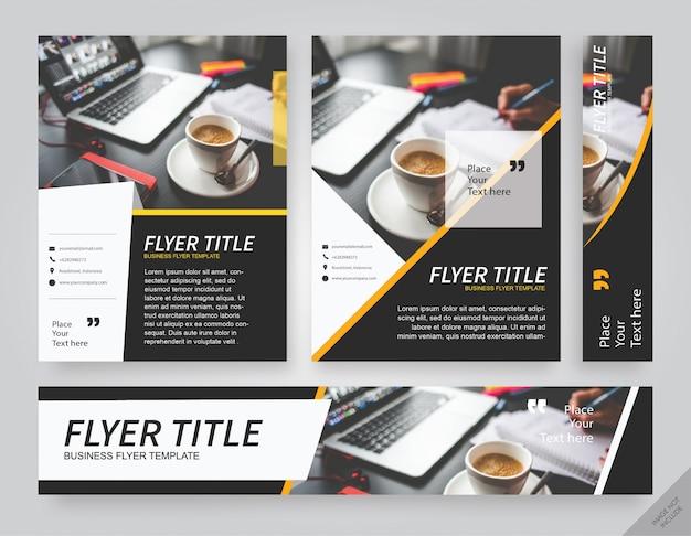 Layout pack café noir avec bande jaune corporate