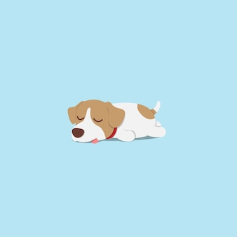 Lazy jack russell chiot dort conception d'icône plate