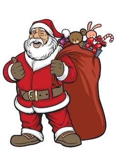 Le père Noël apporte un sac rempli de cadeaux