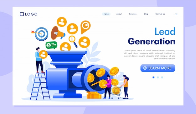Lead generation landing page site web illustration vecteur