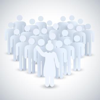 Leader au travail composition avec situation où la femme est le patron d'un groupe de personnes