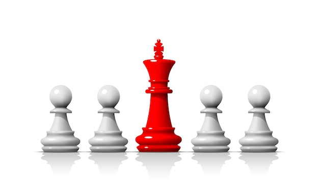 Leader dans le jeu d'échecs, équipe commerciale sur fond blanc. illustration vectorielle