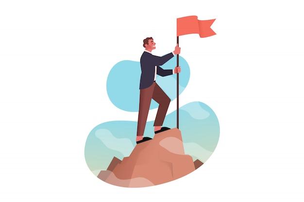 Leadership, conquête, réalisation d'objectifs, succès, concept d'entreprise