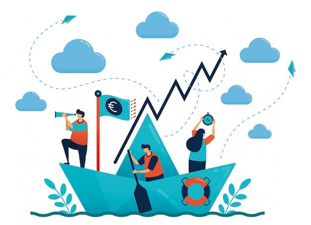 Leadership dans la direction et l'organisation. navire en papier origami. motivation et compétition en carrière. fixer cible et objectif. travail d'équipe et collaboration.