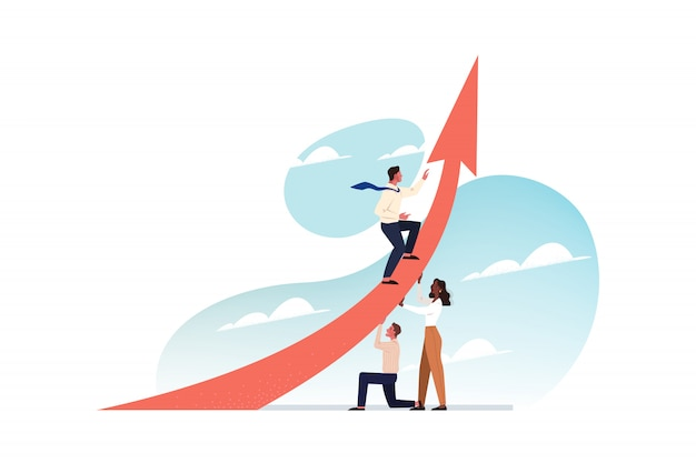 Leadership, travail d'équipe, soutien, démarrage, croissance de carrière, concept d'entreprise