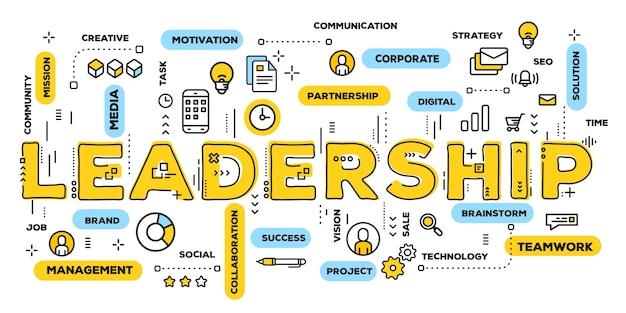 Leadership, typographie de lettrage de mot jaune avec icônes de ligne et nuage de tags