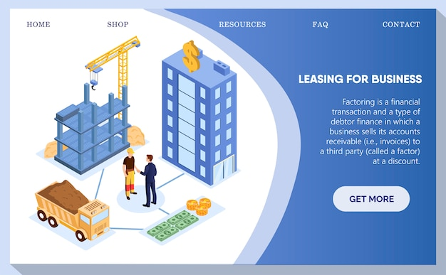 Leasing for business, construction de bâtiments web.