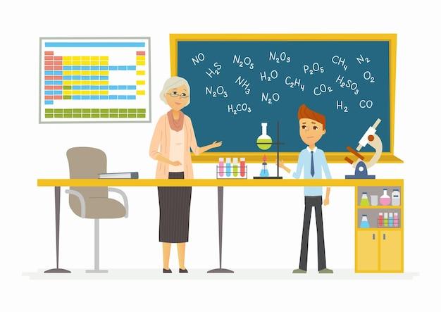 Leçon de chimie - illustration de personnages de dessins animés modernes avec un enseignant et un étudiant parlant devant la classe. la salle avec différentes aides visuelles, planche, flacons, microscope