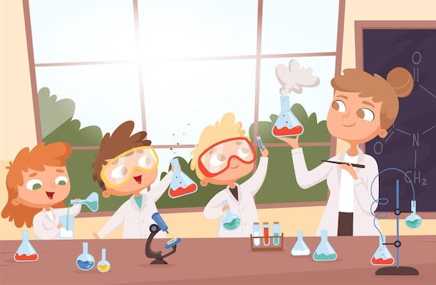 Leçon de chimie. petite science enfants garçons et filles faisant des tests de recherche dans le dessin animé d'illustration de fond de laboratoire scolaire.