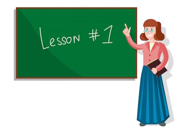 Leçon d'école avec enseignant pointant sur tableau noir.