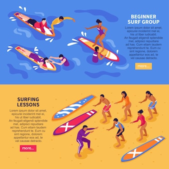 Leçons de surf bannières horizontales