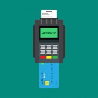 Lecteur de carte de crédit bancaire appareil payant atm vecteur icône vue de dessus.