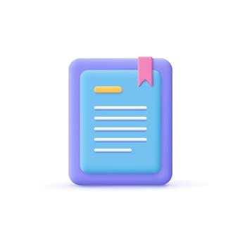 Lecteur de livre électronique minimal de style dessin animé 3d, liseuse électronique, icône de livre électronique et numérique. éducation en ligne, école en ligne, lecture numérique, concept d'apprentissage en ligne.