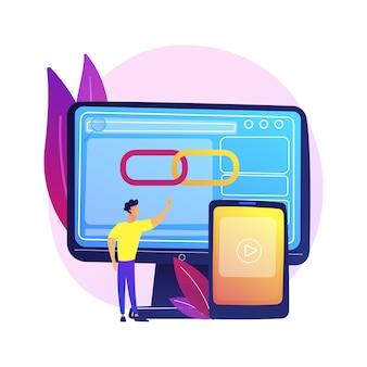 Lecteur multimédia, logiciel, application informatique. application de géolocalisation, fonction de détermination de l'emplacement. mâle réalisateur, personnage de dessin animé de programmeur.