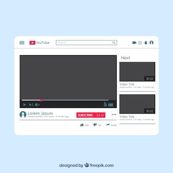 Lecteur Youtube avec un design plat