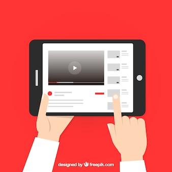Lecteur youtube dans l'appareil avec un design plat