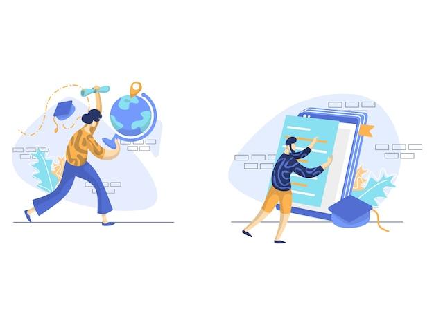Lecture en ligne, illustration de l'éducation mondiale
