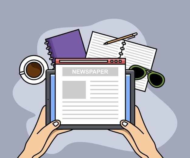 Lecture de nouvelles en ligne ou site web de journal internet numérique tenant les mains des gens au-dessus d'une tablette numérique