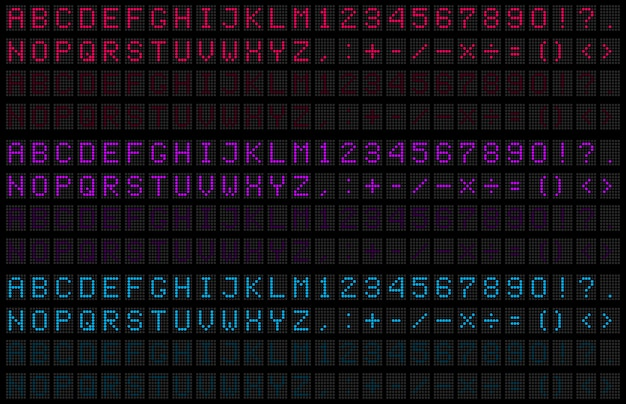 Led alphabet numérique, police, numéro électronique.