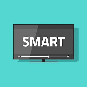 Led tv écran plat smart tv avec vidéo jouant illustration vectorielle
