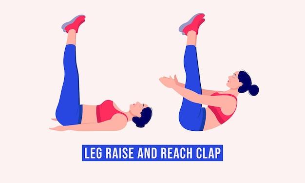 Leg raise and reach clap exercice femme entraînement fitness aérobie et exercices