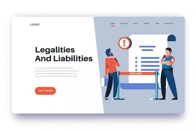 Légalités et responsabilités de la page de destination