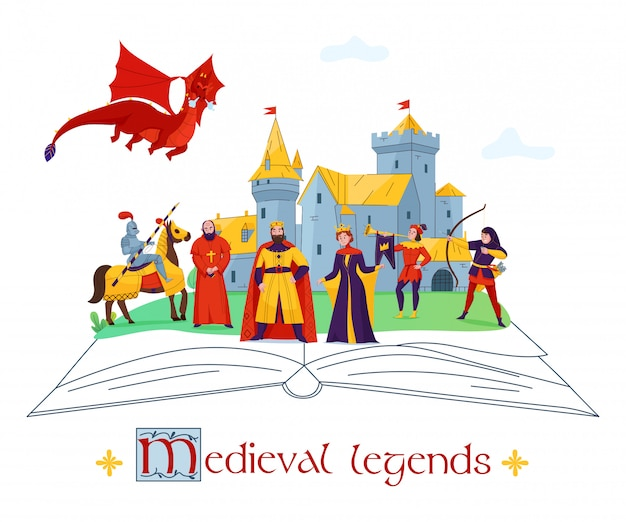Légendes médiévales histoires contes concept plat composition colorée avec des personnages du royaume du château sur illustration vectorielle livre ouvert
