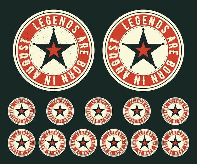 Les légendes sont nées timbre vintage de t-shirt