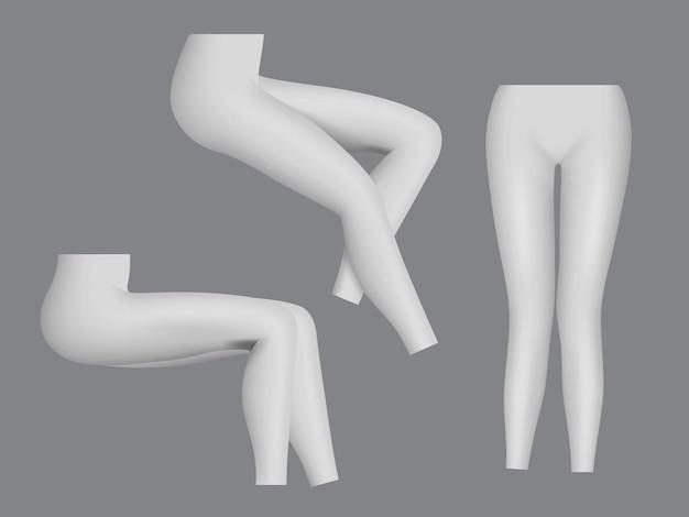Leggings de sport. vêtements serrés femme pour modèle réaliste de mode de remise en forme jambes.