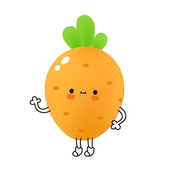 Légume carotte drôle mignon avec visage