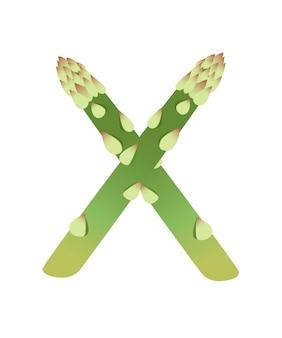 Légume lettre x asperges style dessin animé légume design plat vector illustration isolé sur fond blanc.