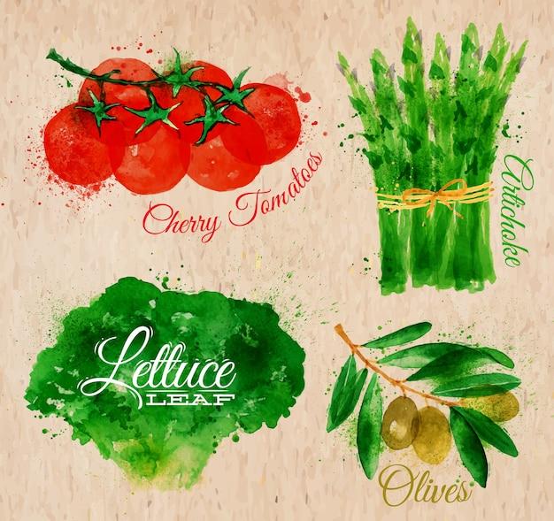 Légumes aquarelle laitue kraft
