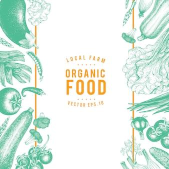 Légumes de cadre vecteur dessinés à la main illustration.