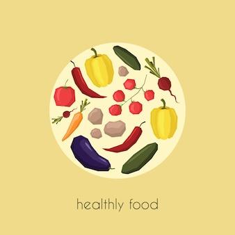 Légumes en cercle dans un style plat pour des impressions de style de vie sain