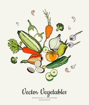 Légumes colorés dessinés à la main hipster