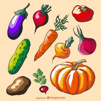 Légumes colorés de griffonnage réglés