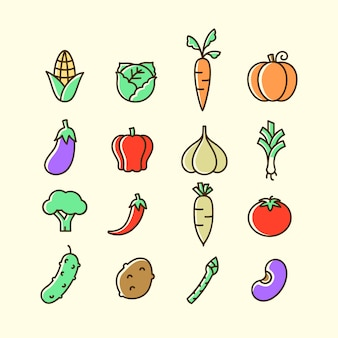 Légumes colorés icon set isolé