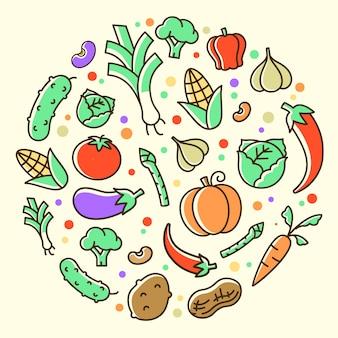 Légumes colorés isolés fond plat