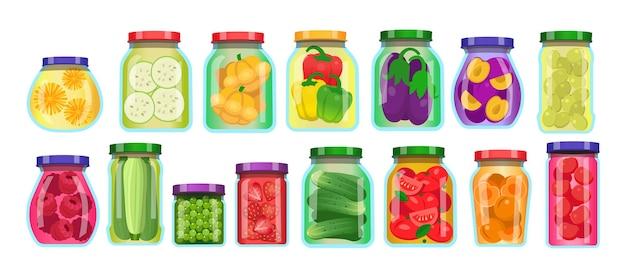 Légumes en conserve et pots de fruits en verre mis en illustration de vecteur de dessin animé isolé sur fond blanc