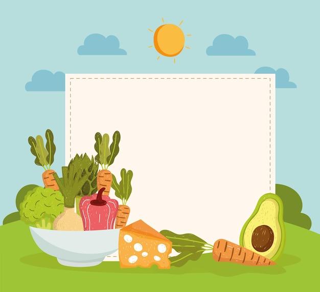 Légumes dans un bol avec bannière