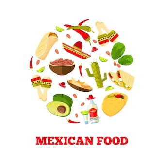 Légumes de dessin animé de cuisine mexicaine, nourriture et boissons
