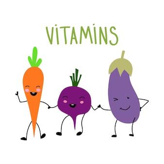 Légumes de dessin animé drôle tenant par la main isolats de légumes vectorielsvector illustration plate sur blanc