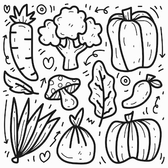 Légumes de dessin animé mignon doodle dessinés à la main